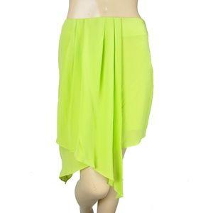 Line & Dot Green Yellow Asymmetrical Pleated Skirt